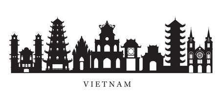 Vietnam Landmarks Skyline in Black and White Silhouette, Cityscape, Travel and Tourist Attraction Illustration
