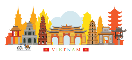 Vietnam Architecture Landmarks Skyline, Cityscape, Travel and Tourist Attraction