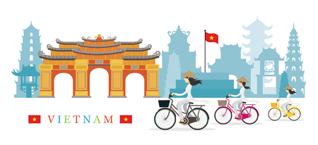 Vietnamese Women with Conical Hat Ride Bicycles, Landmarks Background, Culture, Travel and Tourist Attraction Stock Vector - 78620962