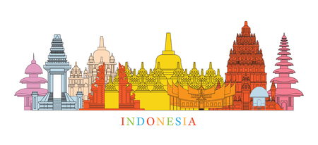 Indonesia Architecture Landmarks Skyline, Cityscape, Travel and Tourist Attraction Illustration