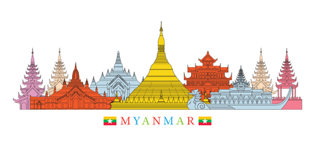 Myanmar Architecture Landmarks Skyline , Cityscape, Travel and Tourist Attraction