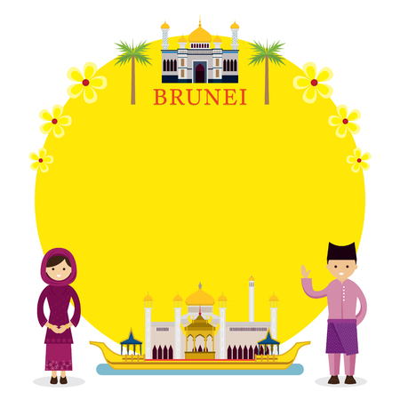 Brunei Landmarks, People in Traditional Clothing, Frame, Culture, Travel and Tourist Attraction Illustration