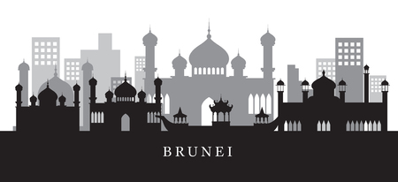 Brunei Landmarks Skyline in Black and White Silhouette, Cityscape, Travel and Tourist Attraction Illustration