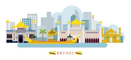 Brunei Landmarks Skyline, Cityscape, Travel and Tourist Attraction