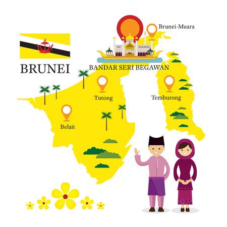Brunei kaart en monumenten met mensen in traditionele kleding, cultuur, reizen en toeristische attractie