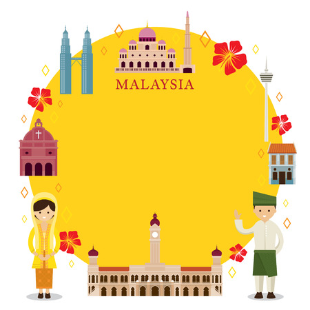 マレーシアのランドマーク、人々 は伝統的な服、フレーム、文化、旅行、観光に  イラスト・ベクター素材