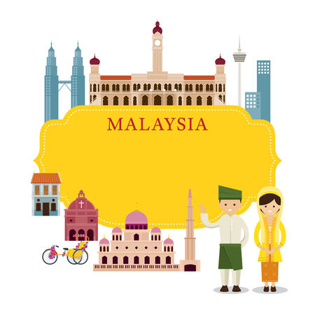 Malaysia Landmarks, People in Traditional Clothing, Frame, Culture, Travel and Tourist Attraction Illustration