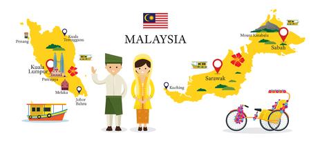 전통적인 의류, 문화, 여행 및 관광 명소에있는 사람들과 말레이시아지도 및 명소 일러스트