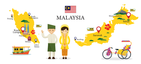 Malaysia Map and Landmarks with People in Traditional Clothing, Culture, Travel and Tourist Attraction Çizim