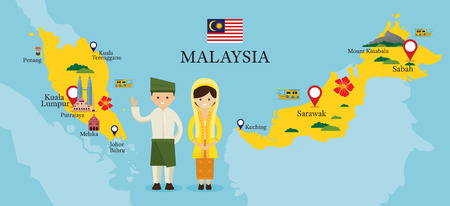 Malaysia Map and Landmarks with People in Traditional Clothing, Culture, Travel and Tourist Attraction Vectores