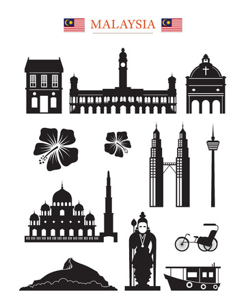 Malaysia Landmarks Architecture Building Object Set, Design Elements, Black and White, Silhouette