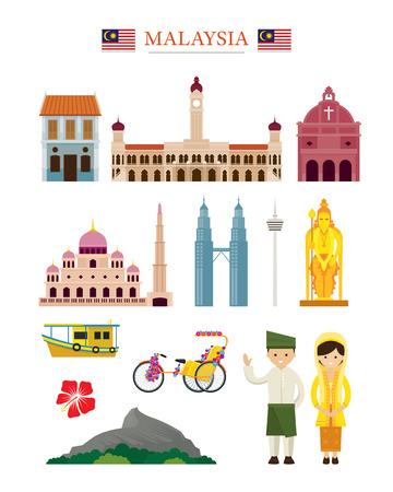 マレーシアのランドマーク建築建物オブジェクトのセット、有名な場所、旅行、観光
