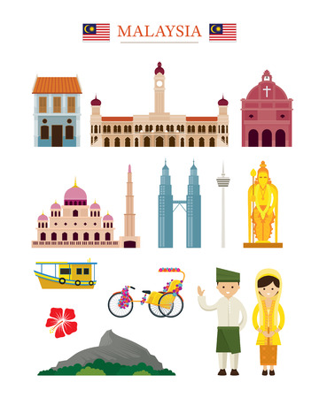 Malaysia Landmarks Architecture Building Object Set, Famous Place, Travel and Tourist Attraction Ilustrace
