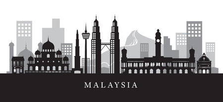 Malaysia Landmarks Skyline in Black and White Silhouette, Cityscape, Travel and Tourist Attraction
