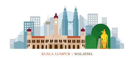 Kuala Lumpur, Malaysia Landmarks Skyline, Cityscape, Travel and Tourist Attraction