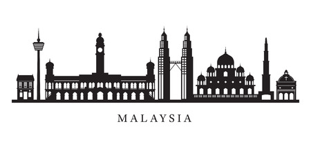 Malaysia Landmarks Skyline in Black and White Silhouette, Cityscape, Travel and Tourist Attraction Stock Vector - 80618534