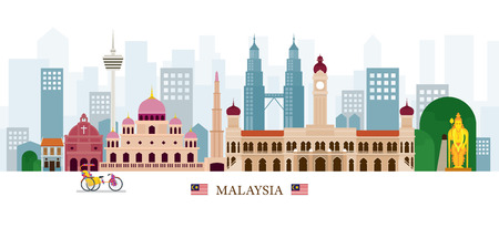 Malaysia Landmarks Skyline, Cityscape, Travel and Tourist Attraction