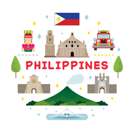 Philippines Travel Attraction Label, Landmarks, Tourism and Traditional Culture Stock Vector - 80615068