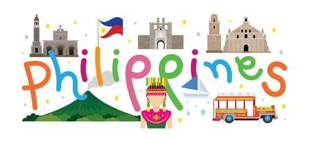 フィリピン旅行と観光地、ランドマーク、観光、伝統文化  イラスト・ベクター素材
