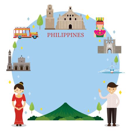 フィリピンのランドマーク、人々 は伝統的な服、フレーム、文化、旅行、観光に  イラスト・ベクター素材