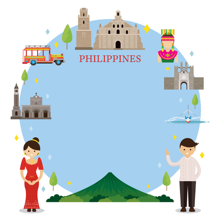 Philippines Landmarks, People in Traditional Clothing, Frame, Culture, Travel and Tourist Attraction Illustration