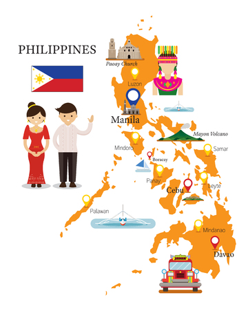Philippines Map and Landmarks with People in Traditional Clothing, Culture, Travel and Tourist Attraction