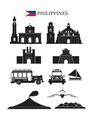 フィリピンのランドマーク建築建物オブジェクト セット、デザイン要素、黒と白のシルエット  イラスト・ベクター素材