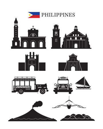 Philippines Landmarks Architecture Building Object Set, Design Elements, Black and White, Silhouette
