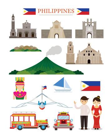 필리핀 랜드 마크 건축 빌딩 세트, 유명한 장소, 여행 및 관광 명소