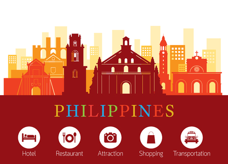 Philippines Landmarks Skyline with Accommodation Icons, Cityscape, Travel and Tourist Attraction Stock Vector - 80618536