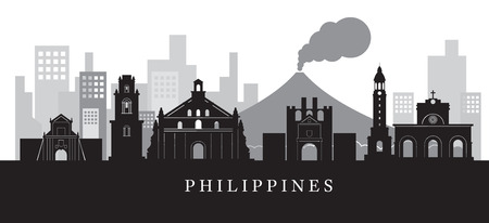 필리핀 랜드 마크 흑백에서 스카이 라인 스카이 실루엣, 도시 풍경, 여행 및 관광 명소