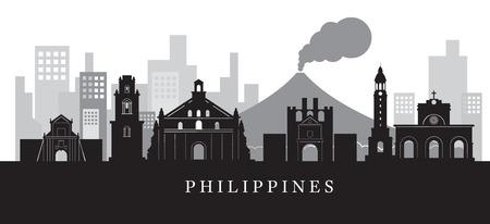 De Horizon van de Monumenten van Filippijnen in Zwart-wit Silhouet, Cityscape, Reis en Toeristische attractie