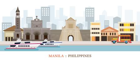 Manila, Filippijnen Landmarks Skyline, Cityscape, Reizen en Toeristische attractie
