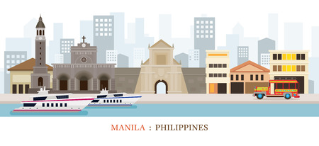 Manila, Philippines Landmarks Skyline, Cityscape, Travel and Tourist Attraction Stock Vector - 80615070