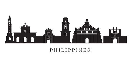 黒と白のシルエット、都市の景観、旅行や観光でフィリピンのランドマーク スカイライン  イラスト・ベクター素材