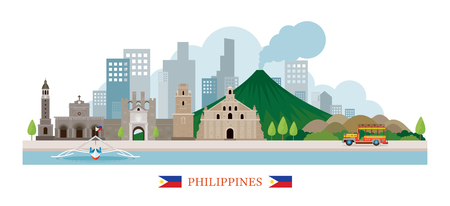 Philippines Landmarks Skyline, Cityscape, Travel and Tourist Attraction