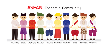 Southeast Asia People in Traditional Clothing join Hand, AEC (ASEAN Economic Community), Men