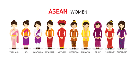 Southeast Asia Women in Traditional Clothing, AEC (ASEAN Economic Community) People