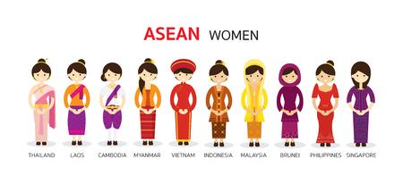 Zuidoost-Azië Vrouwen in traditionele kleding, AEC (ASEAN Economische Gemeenschap) Mensen