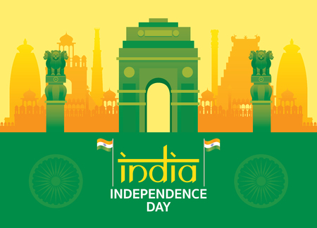 Republic of India, Independence Day, Flag, Gate and Ashoka Pillar Vector Illustration