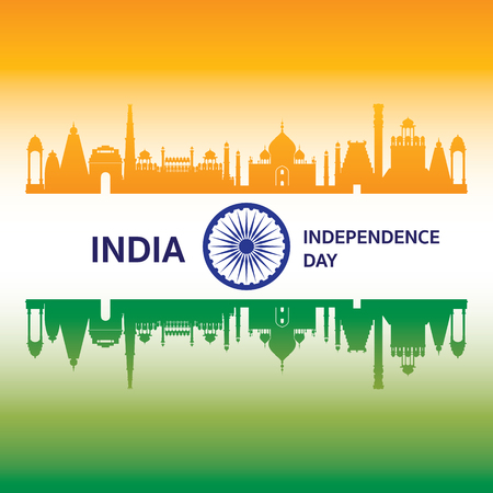 Republic of India, Independence Day, Flag and Landmarks Vector Illustration Illustration