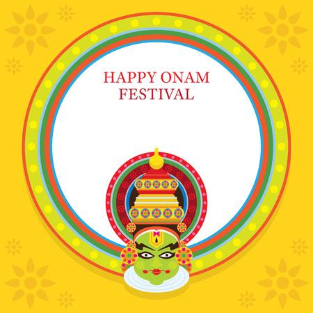 Kathakali Face, Onam Festival, Frame, celebration in Kerala State, India Illustration