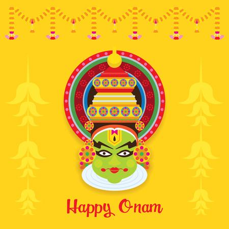 Kathakali Face, Onam Festival, celebration in Kerala State, India Illustration