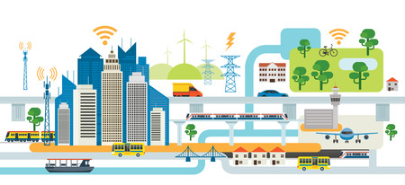 Smart City Infrastructure, Transport, Connected, Energy and Power Concept