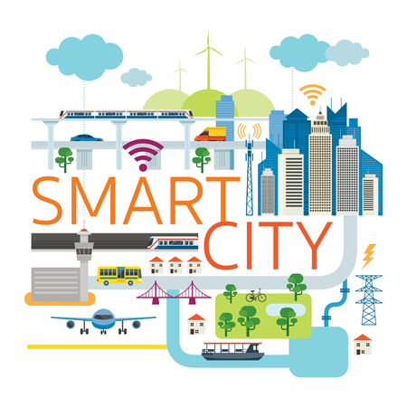 Smart City Infrastructure , Transportation, Connected, Energy and Power Concept