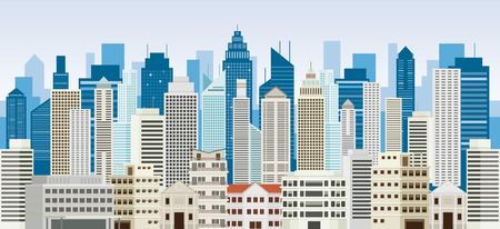 Gebäude und Wolkenkratzer-Hintergrund-Panorama, Stadtbild, Stadt, städtisch und Wohn
