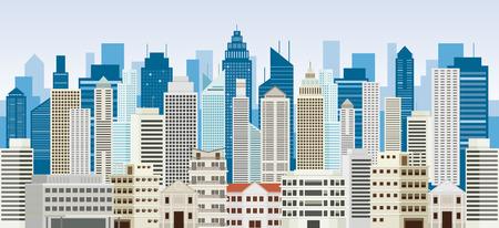Panorama de edificios y rascacielos Panorama, paisaje urbano, ciudad, urbano y residencial