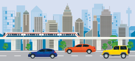 City Building with Cars on the Road and Skytrain, Side View, Transportation, Cityscape Skyline