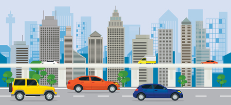 City Building with Cars on the Road and Expressway, Side View, Transportation, Cityscape Skyline