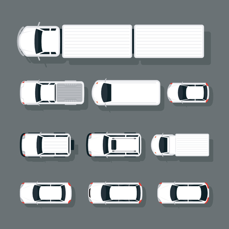Cars and truck Various Type Top or Above View Set , in White, Automobile and Transportation